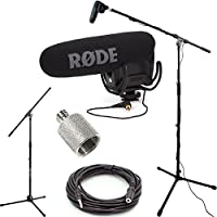 RODE VideoMic Pro R Studio Boom Kit - VMPR, Boom Stand, Adapter, and 25 Cable