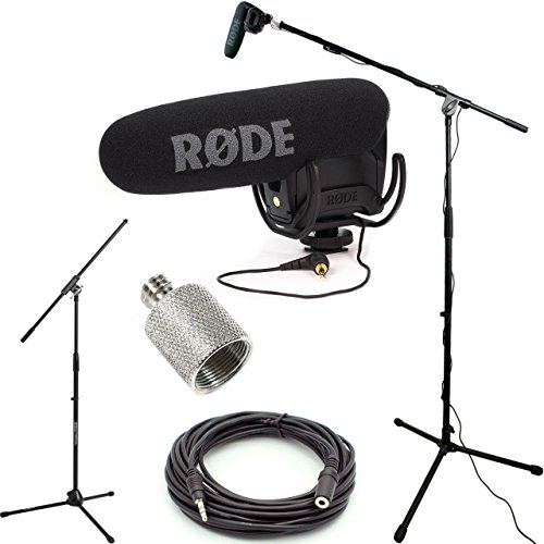 RODE VideoMic Pro R Studio Boom Kit - VMPR, Boom Stand, Adapter, and 25' Cable by DVESTORE
