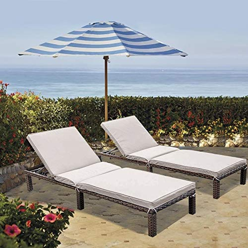 MAGIC UNION Outdoor Rattan Patio Adjustable Wicker Chaise Lounge with Cushions Sets of 2