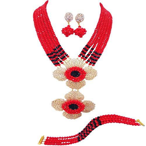- aczuv Fashion Bridal Necklace Nigerian Beads Jewelry Set African Wedding Jewelry Sets for Women (Opaque Red Black)