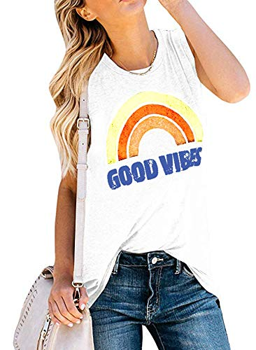 (Womens T-Shirts Graphic Good Vibes Tank Tops Summer Short Sleeve Casual Ladies Blouses)