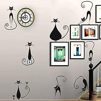 Nueve nueve pegarse a las paredes una caricatura gato gata madre contrajo romántica Europea Las escaleras porche foto pegatinas pared 90980 gatos: ...