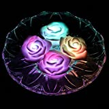 ARDUX Color Changing Waterproof LED Rose Flower Floating Candles Night Light Flameless Candle with Battery-powered (Pack of 4)
