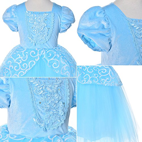 9-layers Tulle Skirt Princess Cinderella Costume Girls Dress Up With Accessories 5T 6T by Party Chili (Image #5)