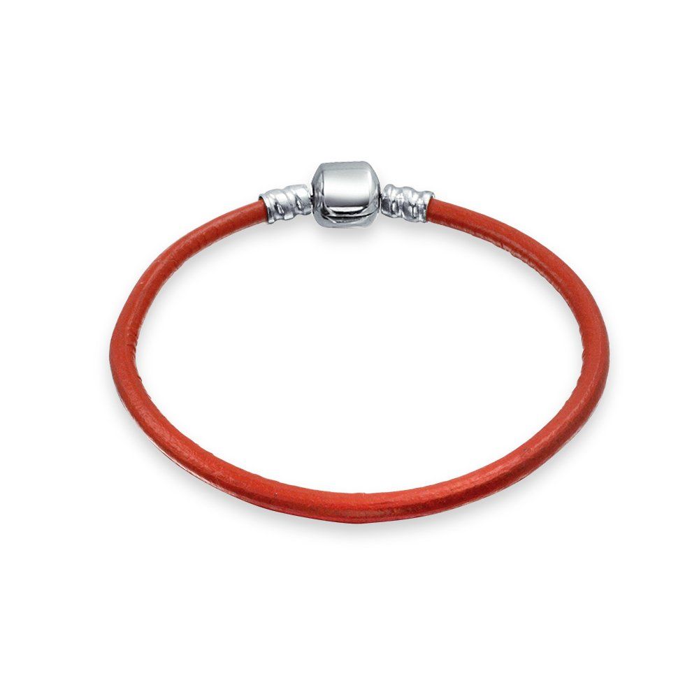 Red Leather 925 Silver Barrel Clasp Charm Beads Bracelet Christmas Holiday Bling Jewelry PBX-HC-07-RD-65