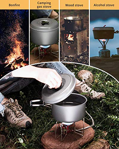Camping Cookware Kit with Stove Outdoor Cooking Set Non Stick Pot and Pans