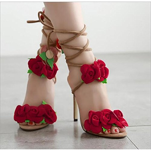 BININBOX Womens Flower Sandals Cross Lace Up High Heeled Shoes Apricot Fz8iFdNW