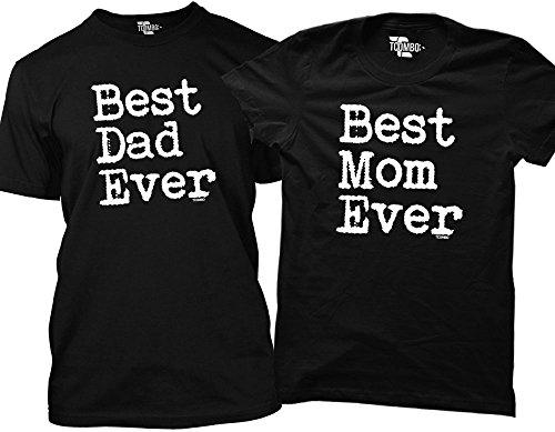 Tcombo Best Dad, Mom Ever Matching Couple T-Shirts (Men's Large, Women's Medium)
