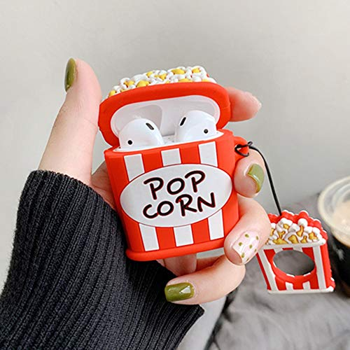 Mulafnxal Compatible with Airpods 1&2 Case,Cute 3D Funny Cartoon Character Silicone Airpod Cover,Kawaii Fun Cool Stylish Keychain Design Skin,Fashion Cases for Girls Kids Teens Boys Air pods(Popcorn)