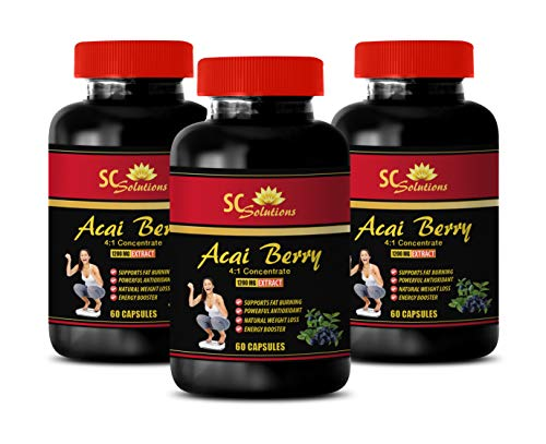 Immune Support Tablets - ACAI Berry Extract 1200 Mg - acai Tea Weight Loss - 3 Bottles (180 Capsules) ()