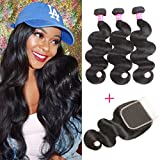 VRBest Brazilian Virgin Hair 3 Bundles With Closure 100% Unprocessed Human Hair Weave Extensions With Lace Closure Brazilian Body Wave (12 14 16 +10, Free Part)