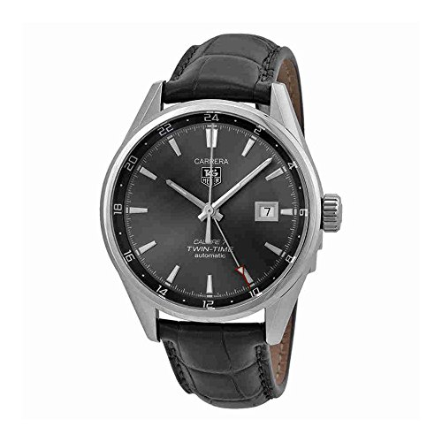 Time Grey Dial - Tag Heuer Carrera Twin Time Anthracite Dial Grey Alligator Leather Mens Watch WAR2012.FC6326