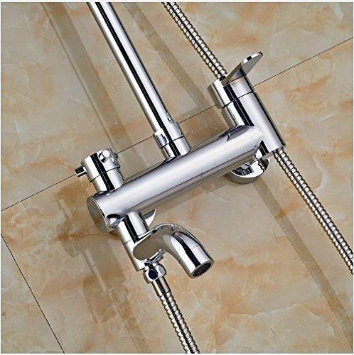 Gowe Widespread Brass Chrome Polish Shower Jet Wall Mounted Double Buttons Rainfall Shower Set 4