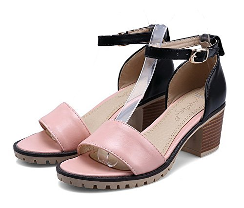 Sandals Assorted Color Buckle Women's Heeled Pink Toe VogueZone009 Heels Open PU High fqnvEx7