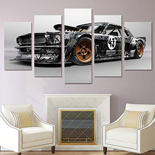 Rtr Art - DOLUDO Modern Poster Home Decor Frame Wall Art Pictures for Living Room 5 Pieces Ford Mustang RTR Car Painting Canvas