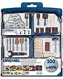 Dremel 100-teiliges Mehrzweck Zubehörset (100x Zubehör, Spannzangenschlüssel, Aufbewahrungsbox)