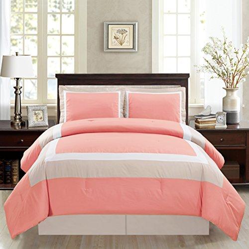 3 Piece TWIN Size CORAL PINK / WHITE / GREY Color Block MILAN Goose Down Alternative Comforter set 34