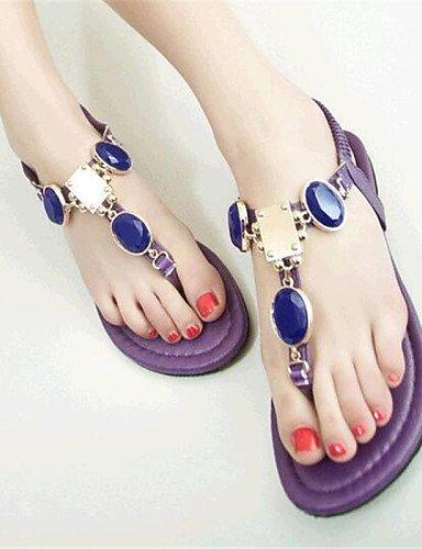 en talons Chaussures femmes similicuir rouge tout sandales rouge violet à ShangYi plats aller avec des pour confortables bleu wtYqrFt