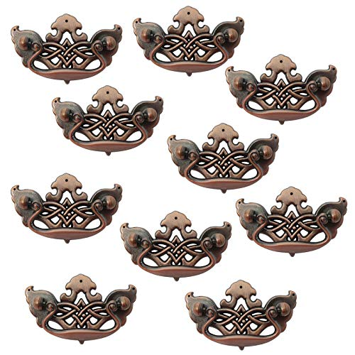 10PCS Vintage Bail Drop Pull Knob 2.5 inch 64mm Centers Antique Copper Finish Dresser Drawer Handle 90mm Length Crown Style Cabinets Hardware