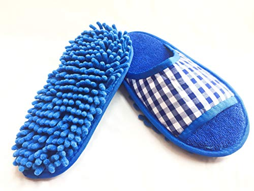 Goldball Ultrafine Chenille Cleaning Dusting Mopping Shoes Microfiber Dusting Mopping Slipper Fits Women Size 6 to 9 (Blue-Check Pattern)