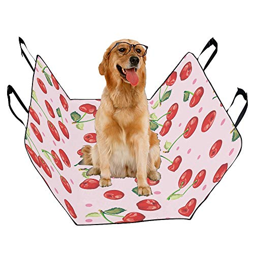 746 Oxford - XINGCHENSS Fashion Oxford Pet Car Seat Cherry Fruit Red Sweet Beauty Red Design Art Cool Flower Waterproof Nonslip Canine Pet Dog Bed Hammock Convertible for Cars Trucks SUV