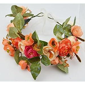 Kinue Novelty Party Decor Bohemian Artificial Camellia Wreath Bride or Bridesmaid Headband_Orange 52