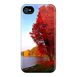 Iphone 4/4s Cover Case - Eco-friendly Packaging(autumn In Red)