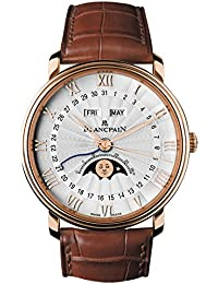 Villeret Moonphase & Complete Calendar Automatic Oplaine Dial Brown Leather Mens Watch 6664-3642-55B