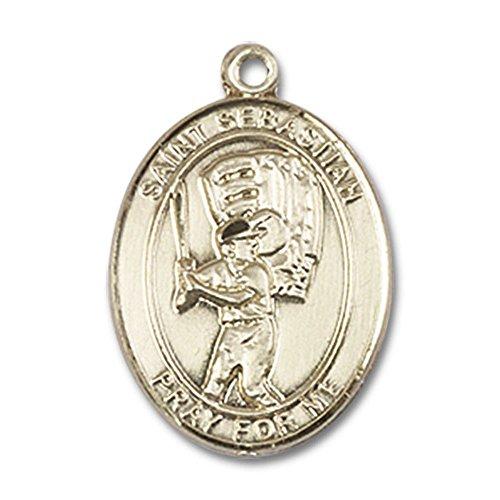 Bonyak Jewelry 14kt Yellow Gold St. Sebastian/Baseball Medal 3/4 x 1/2 inches
