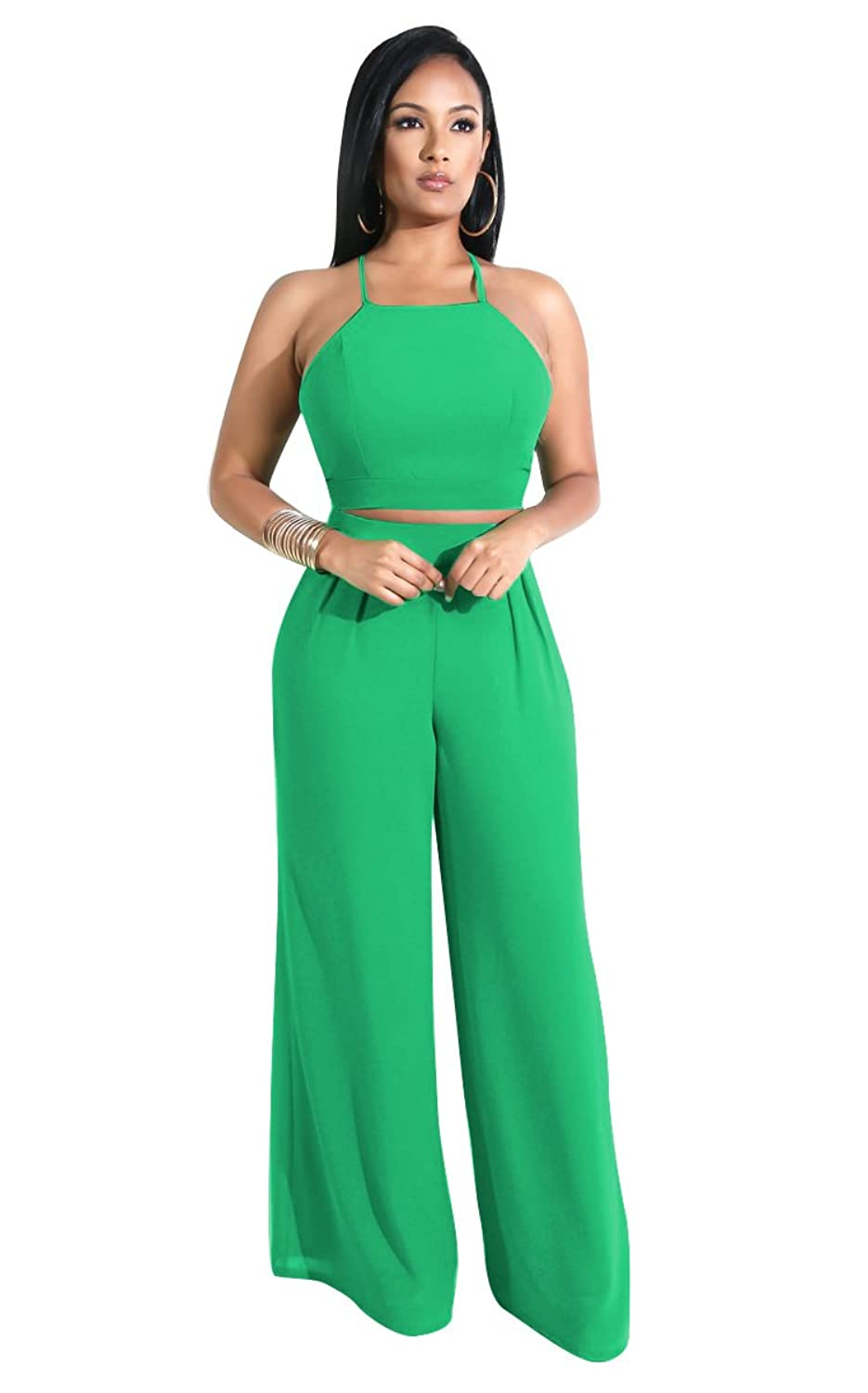 0eeaa207108 2 Piece Outfits for Women Spaghetti Strap Solid Crop Top Wide Leg Long  Pants Set