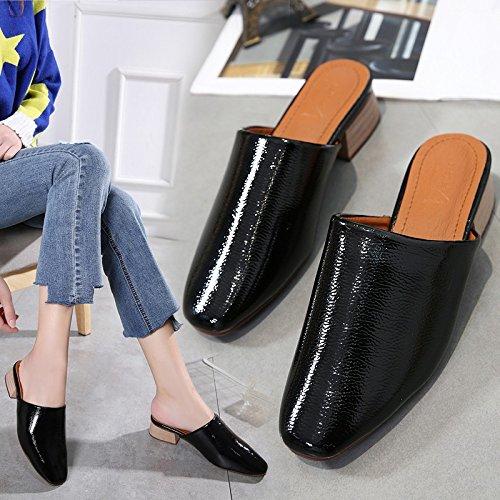 sandali ciabatte grossolane con Qingchunhuangtang Baotou black scarpe w5qXXEg