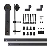 Vancleef 10FT Single Straight Design Sliding Barn Door Hardware Black Rustic Closet Interior Quiet Glide Track Rail Rolling Kit Set Industrial Strength, Easy to Follow Installation Manual Included