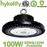 Hykolity 100W UFO LED High Bay Light Fixture, 11000lm 5000K [250w MH/HPS Equivalent] Motion Sensor/Surface Mount optional, Commercial Warehouse/Workshop/Car wash Wet location Area Light