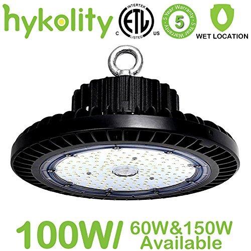 Aluminum Low Bay Lights - Hykolity 100W UFO LED High Bay Light Fixture, 11000lm 5000K [250w MH/HPS Equivalent] Motion Sensor/Surface Mount optional, Commercial Warehouse/Workshop/Car wash Wet location Area Light