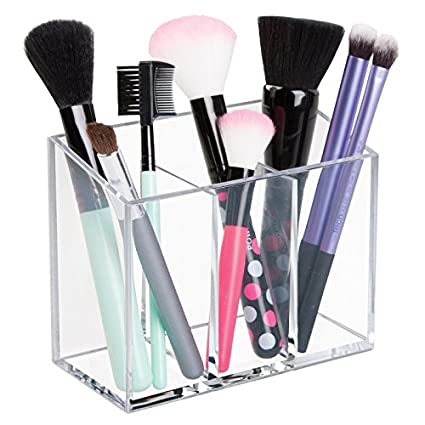 MDesign AFFIXX, Peel And Stick Adhesive Vanity Cosmetic Organizer For Hair  Care,