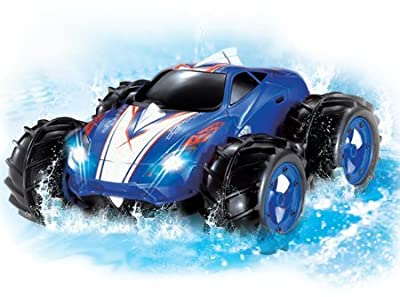 Powerful Amphibious Remote Control Car, Drives on Land & Water, 200 Ft. Control Range, 360 Degree Spins, LED Headlights