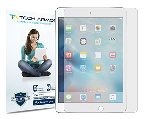 Tech Armor iPad Mini Screen Protector, Anti-Glare/Anti-Fingerprint Apple iPad Mini 1/2 / 3 Film Screen Protector [3-Pack]