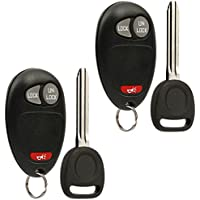 Car Key Fob Keyless Entry Remote with Ignition Key fits Chevy, GMC, Hummer, Isuzu, Oldsmobile, Pontiac (L2C0007T), Set of 2