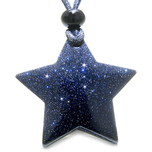 Amulet Magic Five Pointed Super Star Crystal Blue Goldstone Good Luck Pendant Necklace