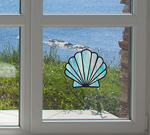 (Shell - Scallop Seashell - Stained Glass Style - See-Through Vinyl Window Decal - Copyright Yadda-Yadda Design Co. (4