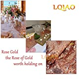 LQIAO Glitter 18PCS 13x108in-Sequin Table Runner-Sparkly Wedding Party Dining Kitchen Table Linens DIY, Rose Gold