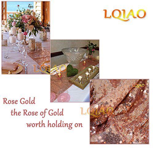 LQIAO Glitter 18PCS 13x108in-Sequin Table Runner-Sparkly Wedding Party Dining Kitchen Table Linens DIY, Rose Gold by LQIAO