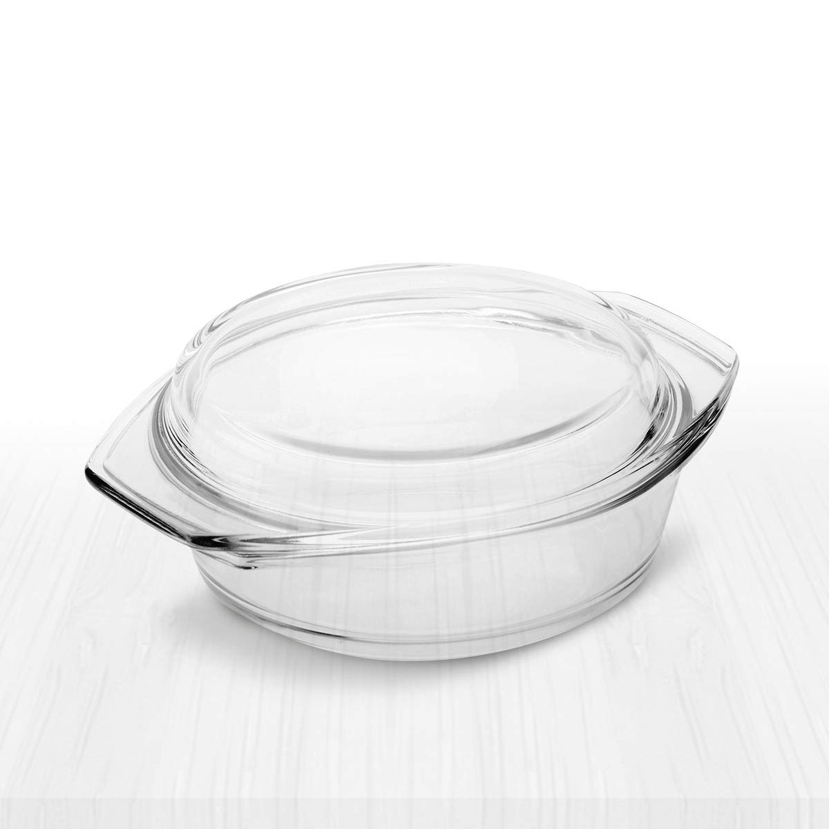 Simax Clear Round Glass Casserole | With Lid, Heat, Cold and Shock Proof, Made in Europe, Oven, Freezer and Dishwasher Safe, 1.5 Quart