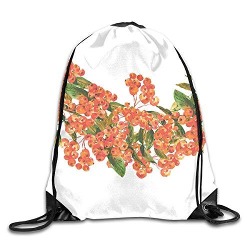 Drawstring Backpacks Bags,Hand Painted Border Full Of Rowan Berries Vintage Style Watercolor Flora,5 Liter Capacity,Adjustable