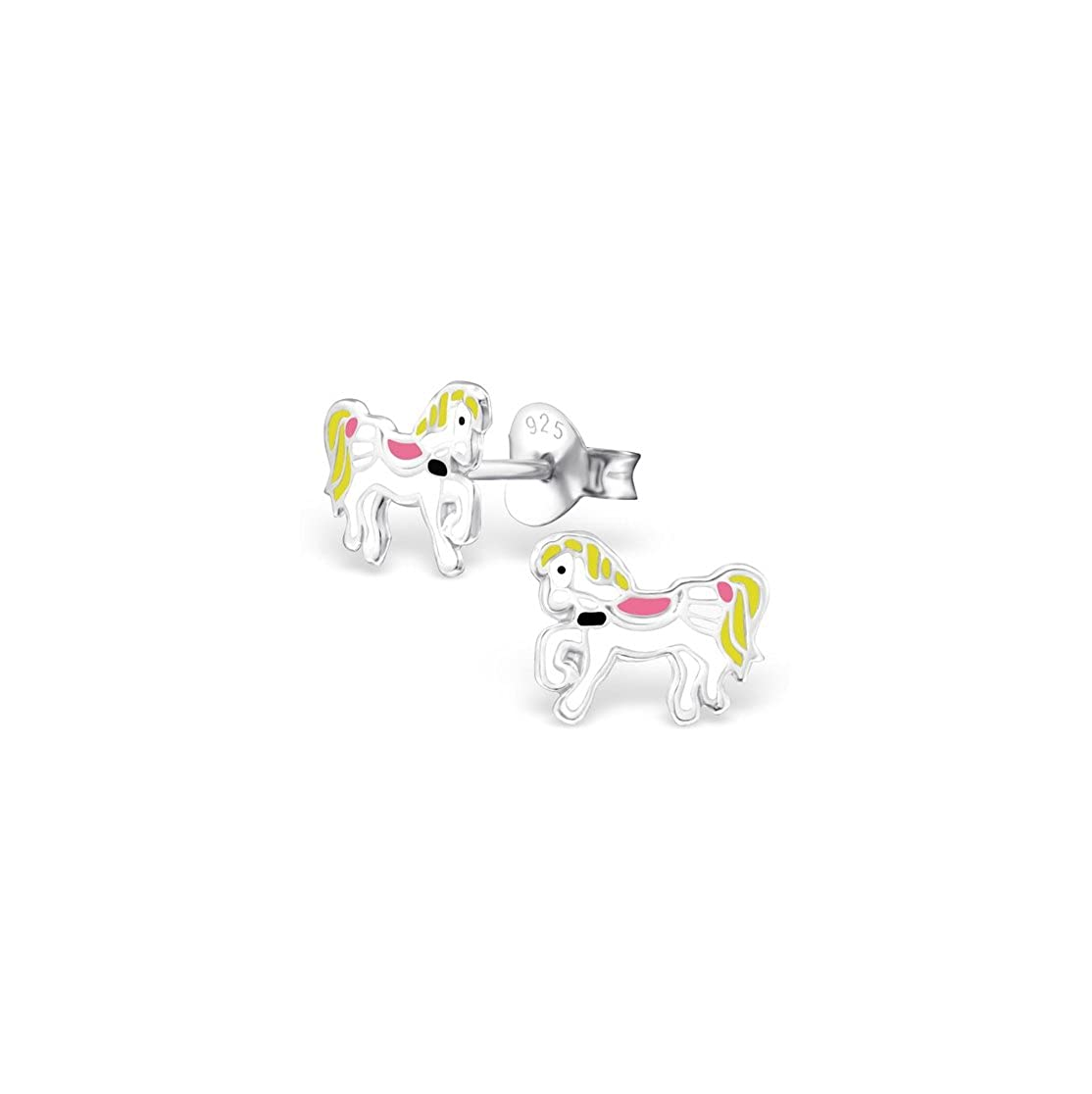 Girls Pony Colorful Ear Studs 925 Sterling Silver