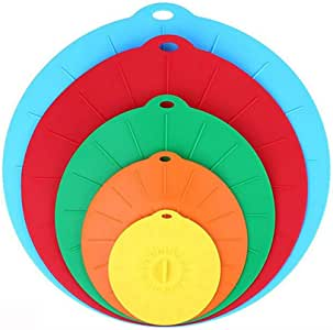 Silicone Suction Lids Reusable Silicone Dustproof Heat-Resistant Cover, Fit Any Round Container Flat Rim, Great for Frying Pans Casseroles Woks - 5 Sizes