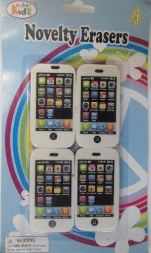 4 Pack Cyber Kidz Novelty Cube Style Erasers i-Pod Touch Shape