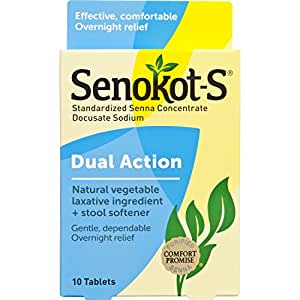 Senokot-S Natural Vegetable Laxative Ingredient Tablets, 10 Count