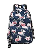 Wentsven Peony Floral Lightweight Teens Travel School Backpack for Girls Navy