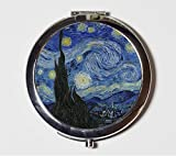 A Starry Night Mirror Compact Vincent Van Gogh Fine Art Painting Make Up Pocket Mirror for Cosmetics